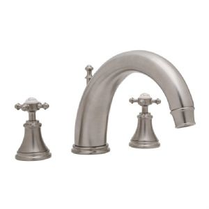 3659 Perrin & Rowe 3-hole Deck Mounted Bath Filler Tap With Cross Handles And 10 inch Spout